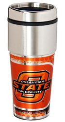 Oklahoma State Cowboys 16 ounce Travel Tumbler with Metallic Graphics