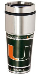 Miami Hurricanes 16 ounce Travel Tumbler with Metallic Graphics