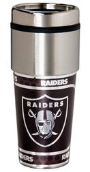 Oakland Raiders 16 ounce Travel Tumbler with Metallic Graphics
