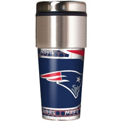 New England Patriots 16 ounce Travel Tumbler with Metallic Graphics - Fanz of Sportz