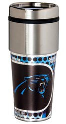 Carolina Panthers 16 ounce Travel Tumbler with Metallic Graphics