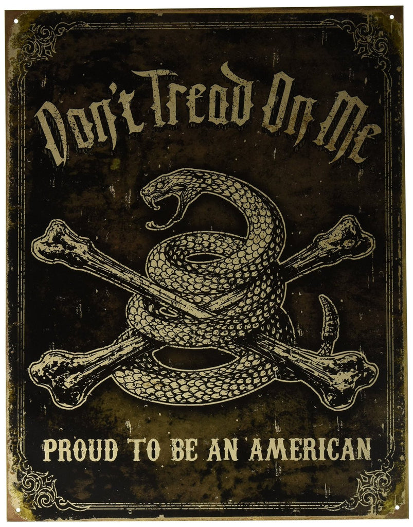 Dont Tread On Me Sign Proud To Be American Rattle Snake Tin Sign
