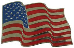 Waving USA Flag Belt Buckle