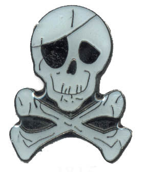Skull with Eye Patch & Crossbones Lapel Pin 12 Count Lot