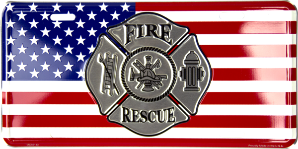 Fire Fighter Cross with American Flag License Plate