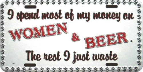I Spend My Money on Women & Beer License Plate