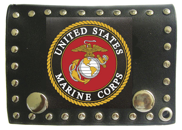 "Marines Leather Tri-Fold 4"" Wallet with Chain"