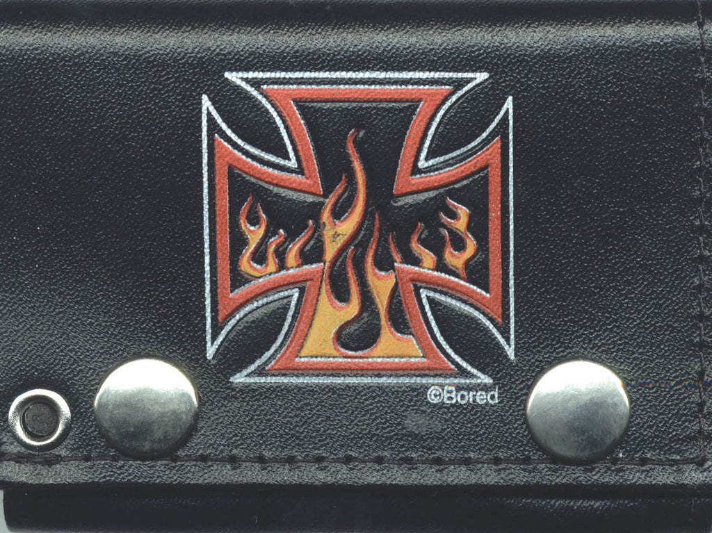 "Color Iron Cross With Flames Tri-Fold Leather 4"" Wallet with Chain"