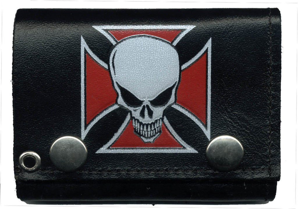 "Color Iron Cross with Skull Leather Tri-Fold 4"" Wallet with Chain"