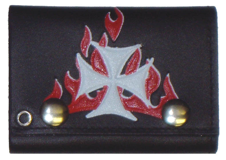 "Color Iron Cross with Red Flames Tri-Fold Leather 4"" Wallet with Chain"