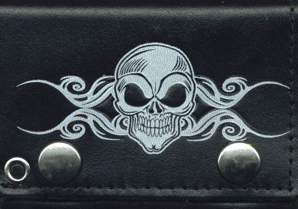 "Skull Leather Tri-Fold 4"" Wallet with Chain"