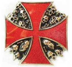 Red Enamel Maltese Cross & Skulls Belt Buckle