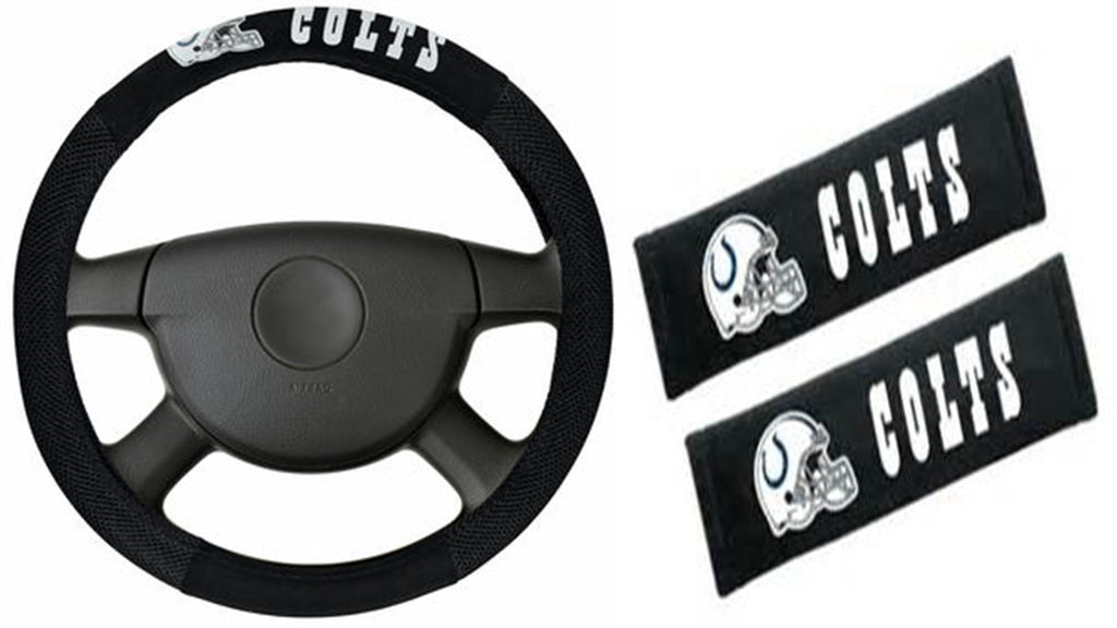 Indianapolis Colts  NFL Steering Wheel Cover and Seatbelt Pad Auto Deluxe Kit