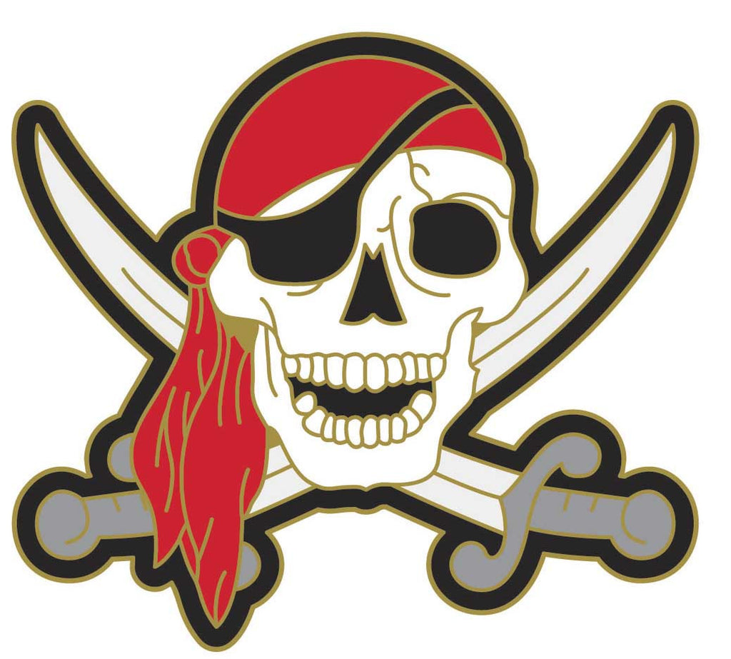 Red Scarf Jolly Roger Lapel Pin