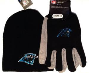 Carolina Panthers Black Knit Beanie and Gloves Set