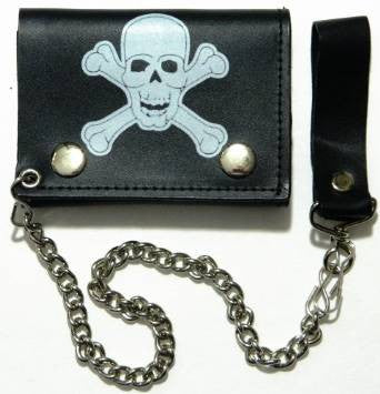 "Big Skull Head and Crossbones Leather Tri-Fold 4"" Wallet with Chain"