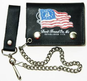 "Gadsden American Flag Leather Tri-Fold 4"" Wallet with Chain"