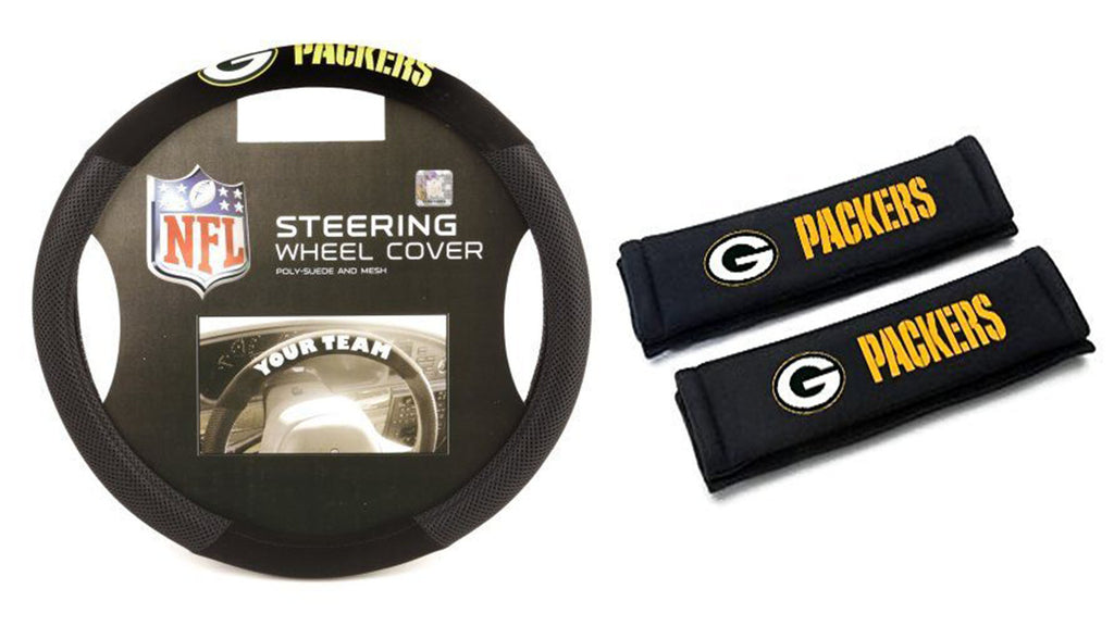 Green Bay Packers  NFL Steering Wheel Cover and Seatbelt Pad Auto Deluxe Kit