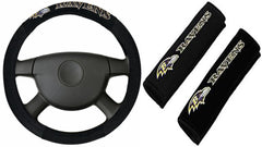 Baltimore Ravens  NFL Steering Wheel Cover and Seatbelt Pad Auto Deluxe Kit - Fanz of Sportz