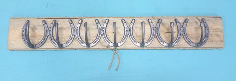 Seven Single Horseshoe Hanger with Board Backing