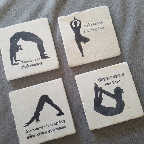 YogaCoaster: The Yoga Gift Shop Handmade Marble Coasters with Yoga Poses