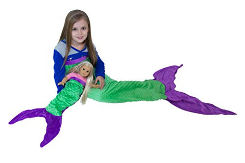 JLIKA Mermaid Tail Blanket for Kids with Free Doll Blanket Included - The Perfect Gift For Girls