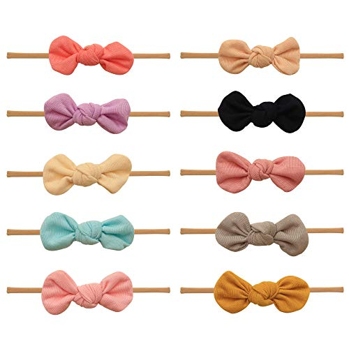 Baby Girl Headbands and bows - Nylon Headband Fits newborn toddler infant girls (Brooklyn Collection) (Assorted Mix)