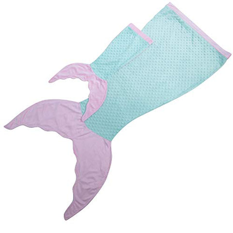 JLIKA Mermaid Tail Blanket with Free Doll Blanket Included (Aqua Pink)