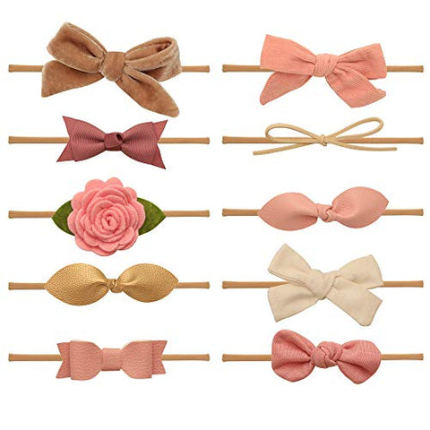 Baby Girl Headbands and bows - Nylon Headband Fits newborn toddler infant girls (Harmony Collection)