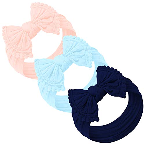Baby Girl Headbands and bows - Nylon Headband Fits newborn toddler infant girls pom pom