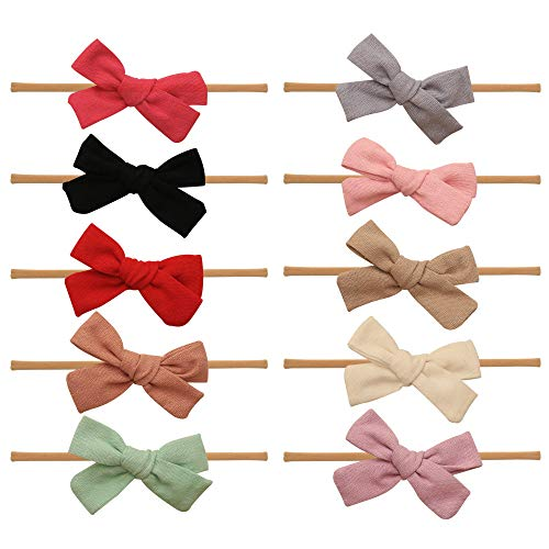 Baby Girl Headbands and bows - Nylon Headband Fits newborn toddler infant girls Linen Material