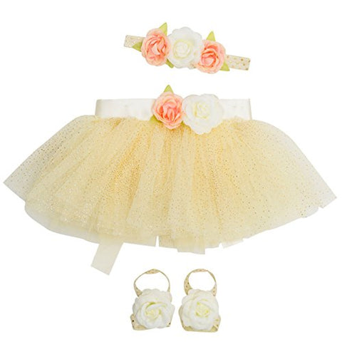 Newborn Girl Tutu Set Skirt with Headband Photography Prop,Pale Yelow,0-12 Months