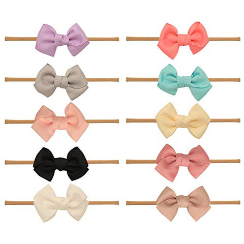 Baby Girl Headbands and bows - Nylon Headband Fits newborn toddler infant girls (Assorted Mix)
