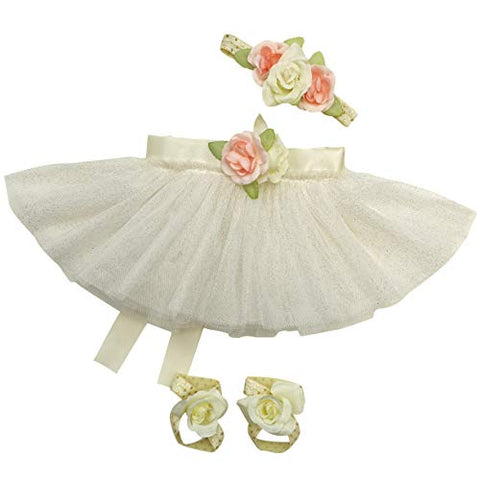 Newborn Baby Girl Tutu Set Skirt with Headband Photography Prop Outfit Clothes (Ivory)