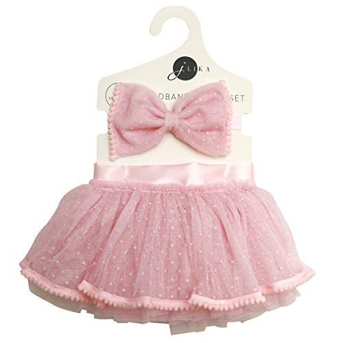 Newborn Baby Girl Tutu Set Skirt with Headband Photography Prop Clothes Easter Outfit (Pink)