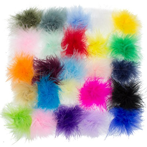 Marabou Feather Puffs Assorted Feathers JLIKA Brand BOA (15 Pieces)