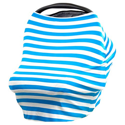 JLIKA Baby Car Seat Covers and Nursing Cover Multi Use (Turquoise/White Stripe)