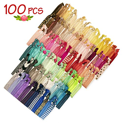 JLIKA Elastic Hair Ties (Set Of 100) Colorful Solids, No Crease Ouchless Ponytail Holders, Ribbon Hairties for Women Girls Teens and Kids