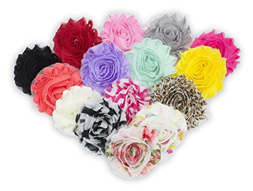 "JLIKA (30 pieces) 15 Pairs Shabby Flowers - Chiffon Fabric Roses - 2.5"" - Colors as pictured"