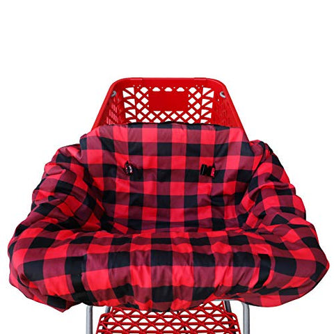 Shopping cart Covers for Baby | High Chair and Grocery Cover for Babies | Infants |Toddlers Trolley Seat for Boys and Girls (Buffalo Plaid)