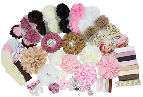 Baby Shower Games Party Supplies Headband Kit - Fashion Headband Kit - DIY Headband Maker Kit - Make 32 Headbands and 5 Clips - Baby Shower Headband Station Kit - DIY Hair Bow Kit - Vintage Collection