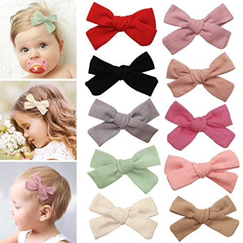 Hair clips bows for toddler girls - girl hair accessories barrettes - bow alligator clip for Teens Kids Toddlers (Linen Mix)