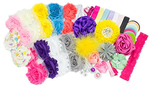 JLIKA Baby Shower Headband Station DIY Kit - Make Over 21 Headbands and 2 Clips - DIY Hair Bow Kit - Birthday Party Bright Collection (Small Size)