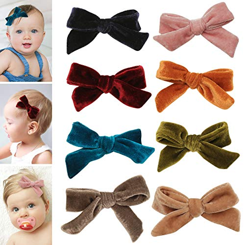 Velvet bows hair clips for girls - toddler girl hair accessories barrettes - bow alligator clip for Teens Kids Toddlers (Velvet Clips Assorted Mix)