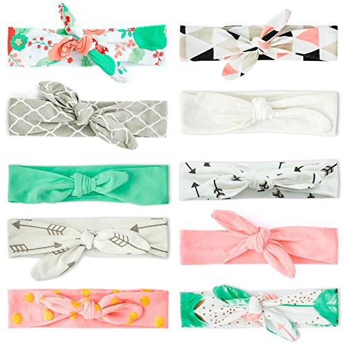 JLIKA Baby Girl Headbands Cotton Knotted Headband Headwrap Modern Turban Fashion Head Band Wrap Rabbit Ear Bows for newborns infants toddlers - 10 Pack (Modern Designs Collection)