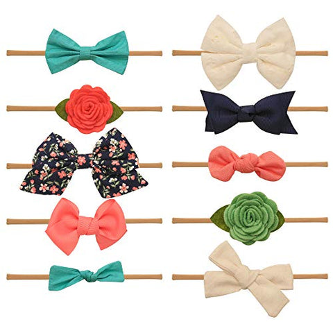 Baby Girl Headbands and bows - Nylon Headband Fits newborn toddler infant girls (Ariel)