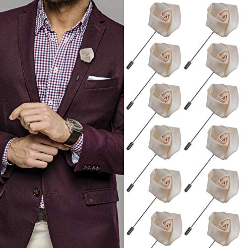 JLIKA Lapel Pins for Men Flower Pin Rose for Wedding Boutonniere Stick Boutineers (Set of 12 PINS)