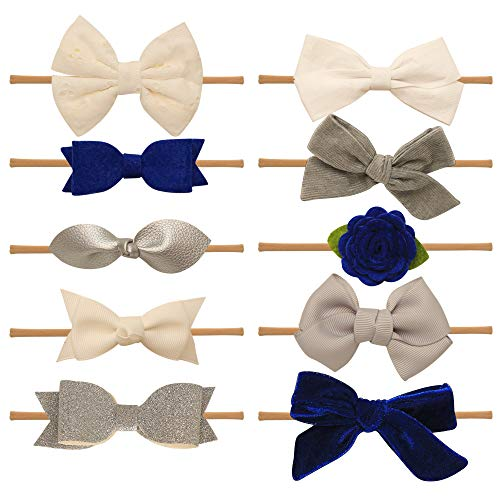 Baby Girl Headbands and bows - Nylon Headband Fits newborn toddler infant girls (Adeline Collection)