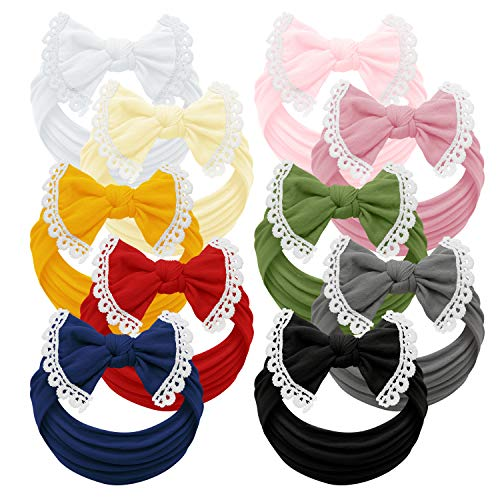 Baby Girl Headbands and bows - Nylon Headband Fits newborn toddler infant girls lace trim