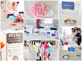 Pastel Collection - Fashion Headband Kit - Baby Shower Games Headband Station Party Supplies for DIY Hair Bow Maker - Make 32 Headbands and 5 Clips